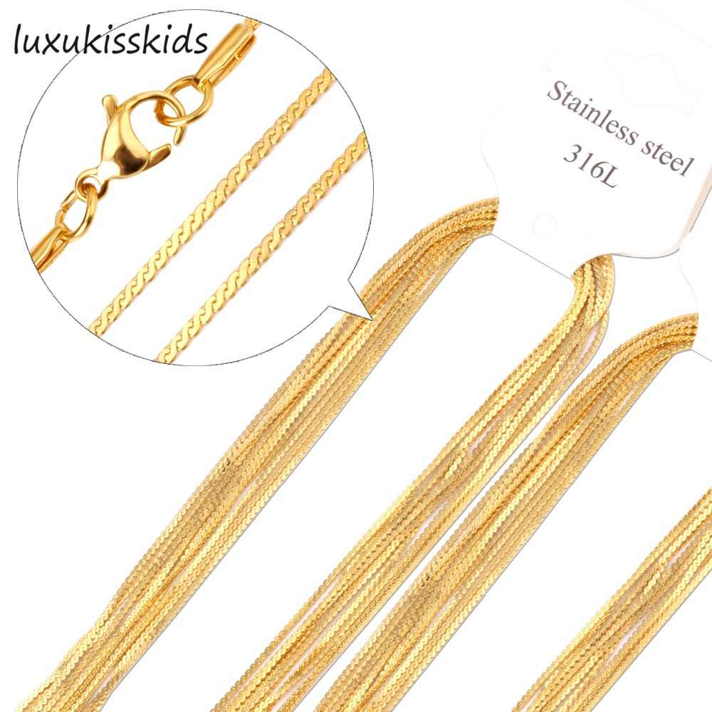 LUXUKISSKIDS 10Pcs/Lot Stainless Steel 1MM Chain Necklace Rope Chains Fashion Choker Necklaces Wholesale Price High quality