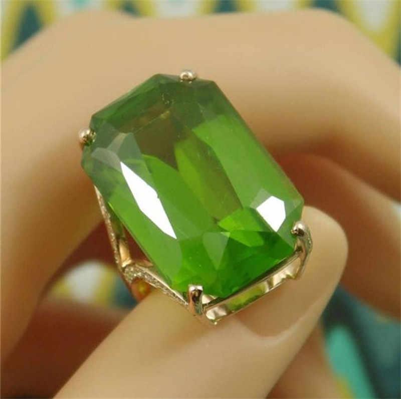 คลาสสิก Zirconia แหวนคริสตัลสีเขียวขนาดใหญ่ Cz หินประดับผู้หญิงเครื่องประดับสำหรับเจ้าสาวงานแต่งงานชุดอาหารค่ำ
