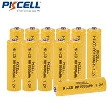 12 개/몫 PKCELL Ni CD 1.2 V AA 배터리 1000mAh 충전식 배터리 1.2 볼트 2A 배터리 손전등 잔디 램프에 대 한 단추 상단