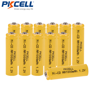 Image 1 - 12Pcs/lot PKCELL Ni CD 1.2V AA Battery 1000mAh Rechargeable Batteries 1.2 Volt 2A Batteries button top for flashlight Lawn lamp