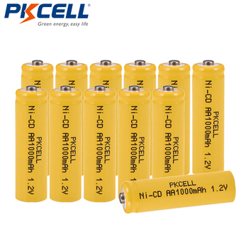 12Pcs/lot PKCELL Ni-CD 1.2V AA Battery 1000mAh Rechargeable Batteries 1.2 Volt 2A Batteries button top for flashlight Lawn lamp