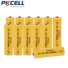 12 sztuk/partia PKCELL ni-cd 1.2 V bateria AA 1000mAh akumulatory 1.2 V 2A baterie przycisk góra dla latarka lampa trawnik