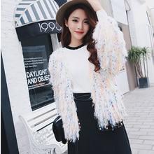 Fashion Women Sweater Cardigan Sequined Tassel Loose Long Sleeve Sweater Female Solid Winter Warm Knit Jumper Casual Outwear