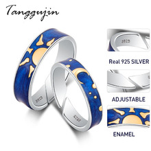 Tanggujin Couple Rings 925 Sterling Silver Adjustable Ring Blue Enamel For Women Men Lovers Wedding Band Jewelry Gift