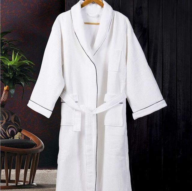 Robes para as mulheres que vestem vestido das mulheres sólidos Full Color Sleeve Waffle algodão sono salão Robes Vestaglia vestes de dama de honra