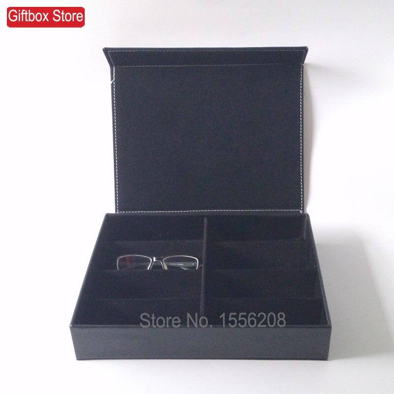 الاصطناعي نظارات شمسية من الجلد صندوق تخزين نظارات المنظم نظارات صينية العرض حامل مع 8 مقصورة-في صناديق وعلب تخزين من المنزل والحديقة على  مجموعة 3