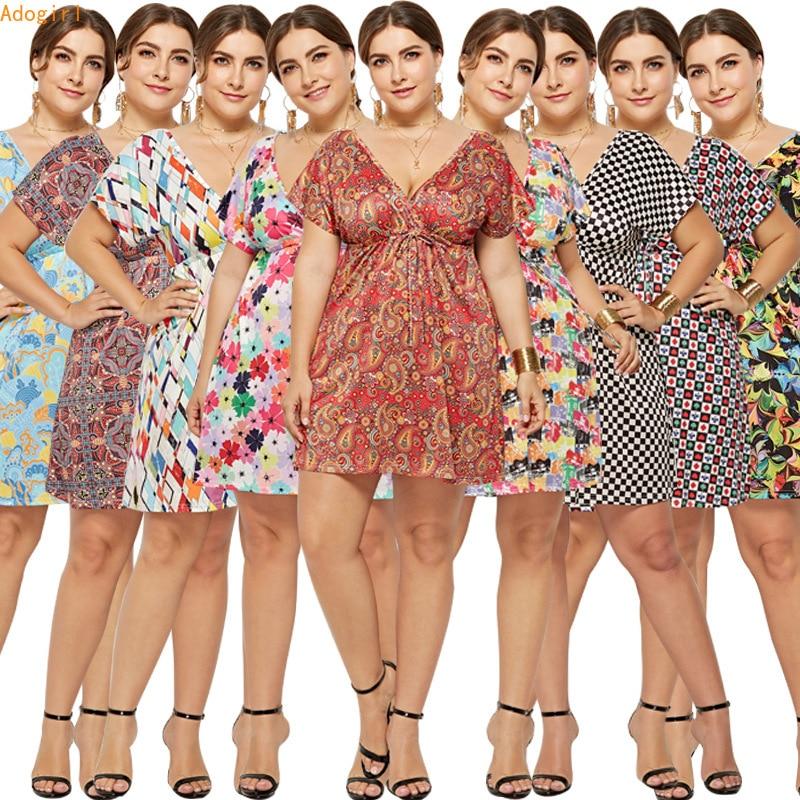 vestido verano 2019 new sexy Women midi dress Short Sleeve deep v neck Boho Flower Print summer loose casual dress plus size in Dresses from Women 39 s Clothing