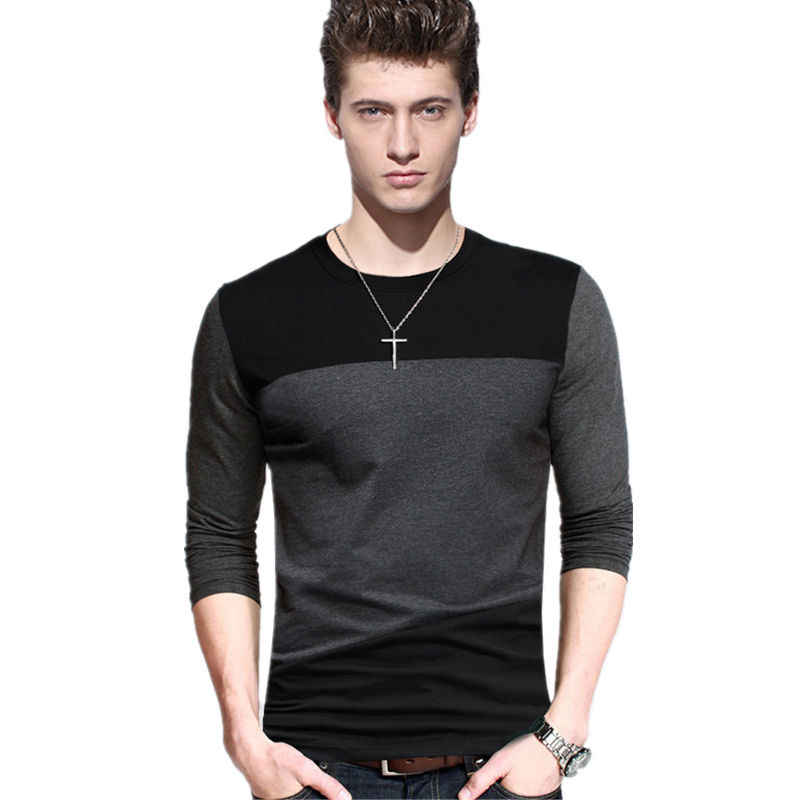 5XL Mens T Shirt Fashion 2019 Spring Long Sleeve T Shirts 100% Cotton Men Round Collar Contrast Collar Slim Fit Tshirt Plus Size