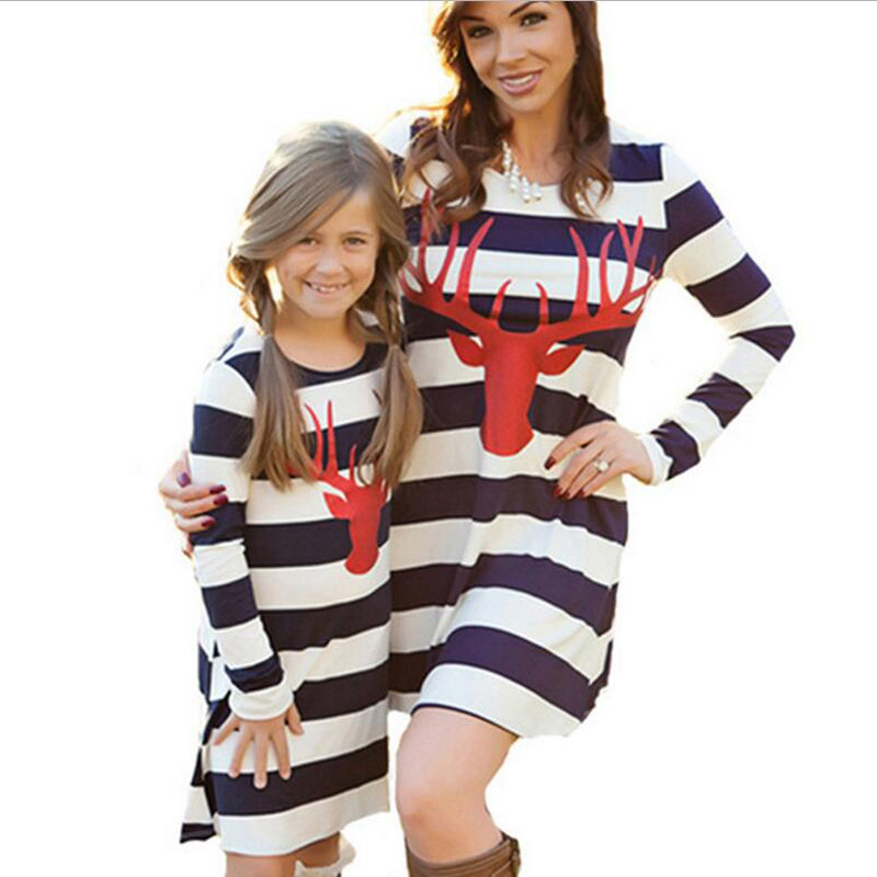 Mother and Daughter Bell Sleeve Striped Summer Dress