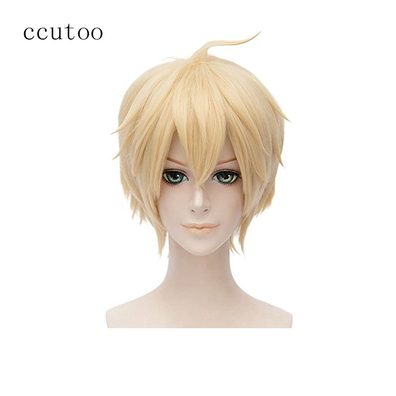 Ccutoo 12 Blonde Court Shaggy Layered Fluffy Cheveux Synthétiques Partie Cosplay Costume Perruques Séraphin de la Fin Mikaela Hyakuya