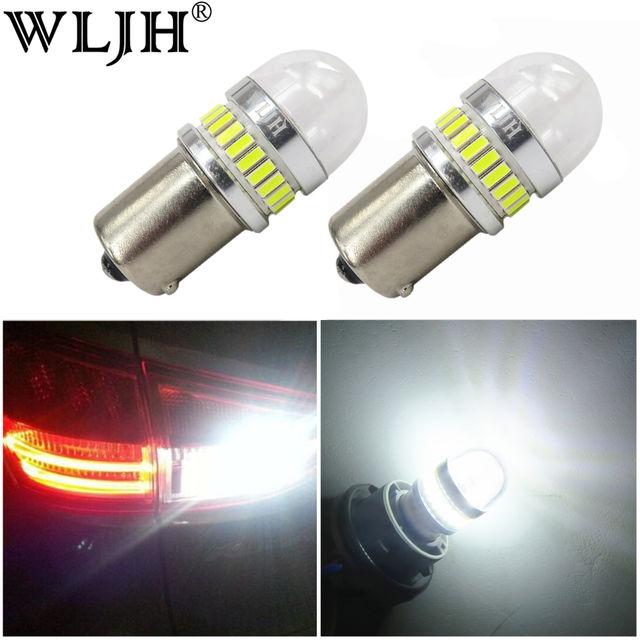WLJH 2x High Power White Amber Red 1156 BA15S 7506 P21W LED 4014 3030 Chip Car Reverse Backup Light Parking Lamp DRL Bulb Lens