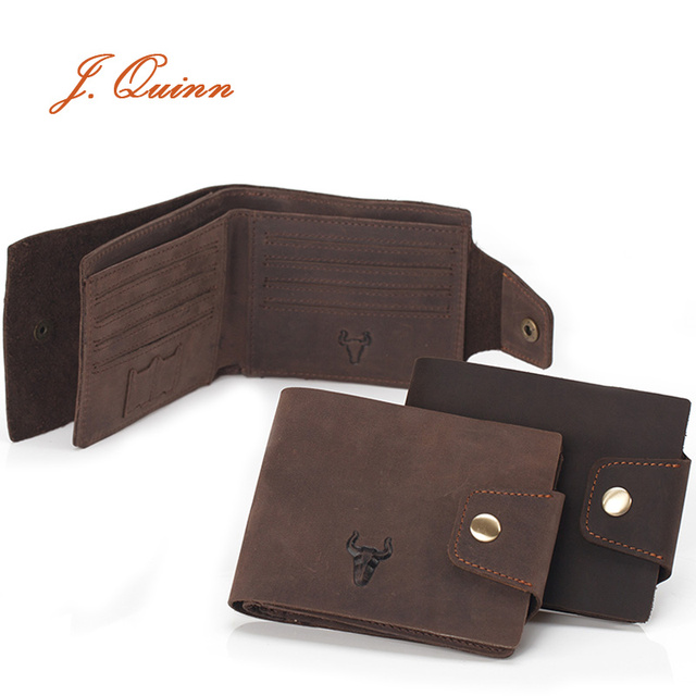 J.Quinn Men's Leather Wallet Hasp 11 Card Holder Genuine Cow Soft Brown Vintage Fashion Short Wallets for Man Mini Sd Purse