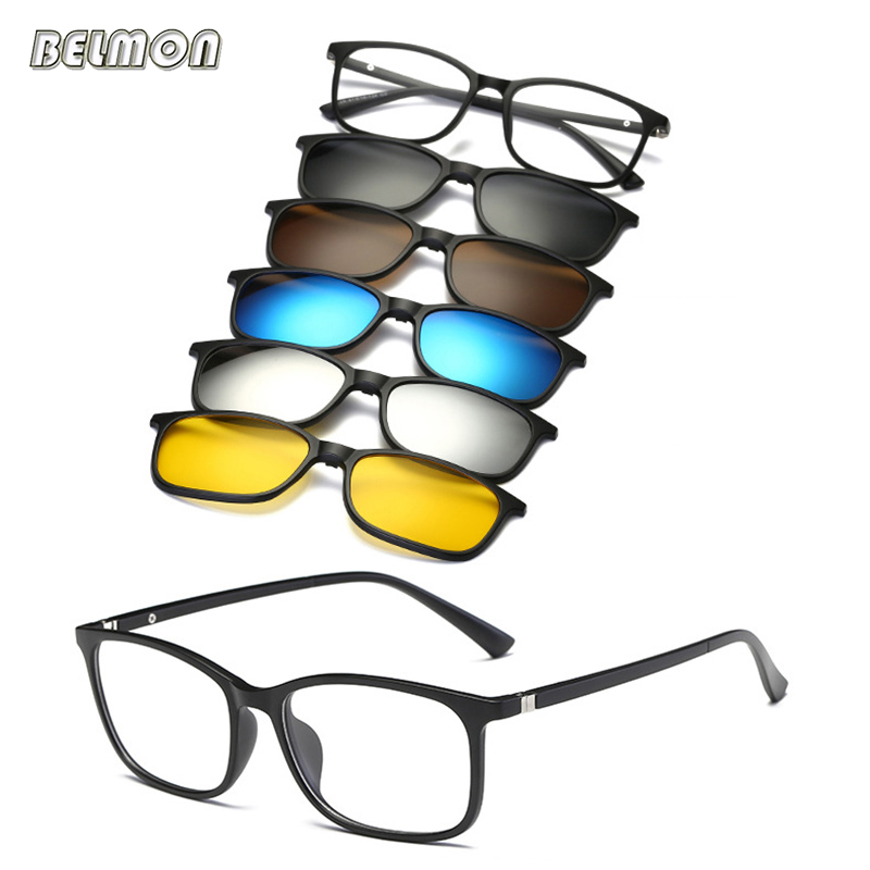 Belmon Spectacle Frame Men Women With 5 Piece Clip On Polarized Sunglasses Magnetic Glasses Male Driving Myopia Optical RS477