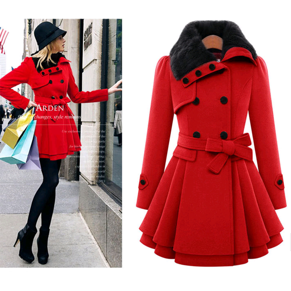 Online Shop woolen coat female fur collar long sleeve black red ...
