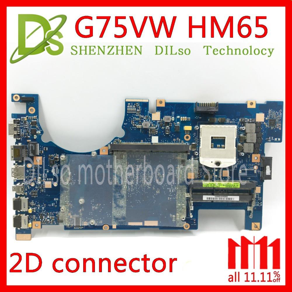 KEFU G75VW motherboard for ASUS G75VW G75V G75VX support 2D connector 4 Memory slot ddr3 HM65 laptop motherboard