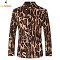 Leopard Мужчины Рубашки Мода Марка 3D С Длинным Рукавом Нагрудные Воротник печатных Человек Рубашки Сорочка Homme Повседневная Рубашка Европа Большой Размер XS-3XL