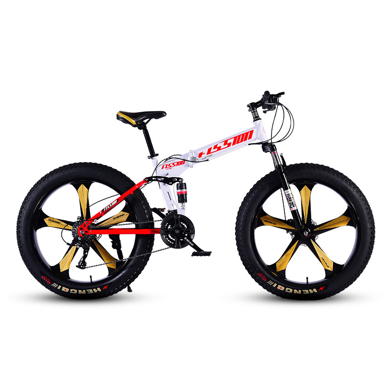 Snowy Beach Bicycle 5 Knife Wheels 26 Inches 27 Speed Double Disc Brake High Carbon Steel Frame
