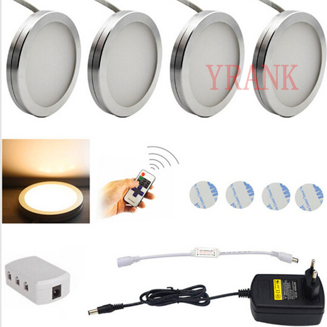 Amazing LED Under Cabinet Lighting Puck Lights Downlight Spotlights With Wireless  RF Remote Control Dimmable For Furniture