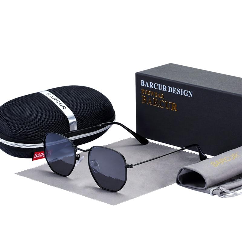 BARCUR gafas de sol hombres mujeres Marca Diseño UV400 espejo hombre gafas de sol Retro espejo glassses 22mm Vintage Eyewear Accesorios