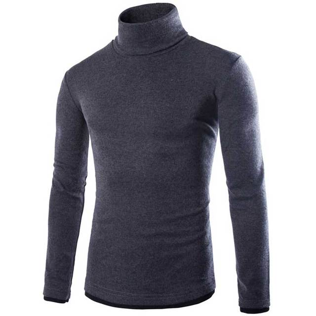 Mens Pullovers Sweaters New Fashion Stylish Casual Solid Turtleneck Men Slim Knitted Sweater Jumpers with 6 Colors from M-2XL