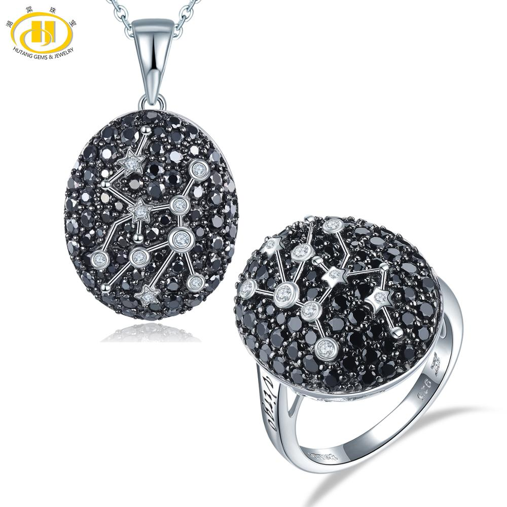 Hutang Virgo Jewelry Sets Black Spinel Pendant Ring 925 Silver Sign Natural Gemstone Jewelry for Women