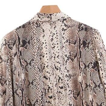 Chaqueta con estampado de serpiente mujeres blazers y chaquetas Animal, chaqueta coreana para mujer con bolsillos, prendas de vestir exteriores informales para mujer