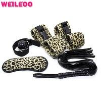 5 шт. леопардовая расцветка ведомого БДСМ секс-игрушки для пары фетиш секс-игрушки садо удерживающих секс-бондаж набор взрослые игры