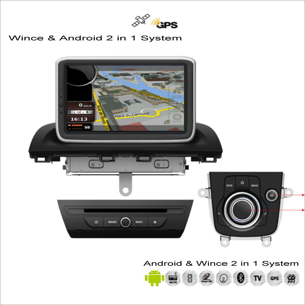 Car android multimedia radio cd dvd player gps navigation navi audio stereo video 2 in 1