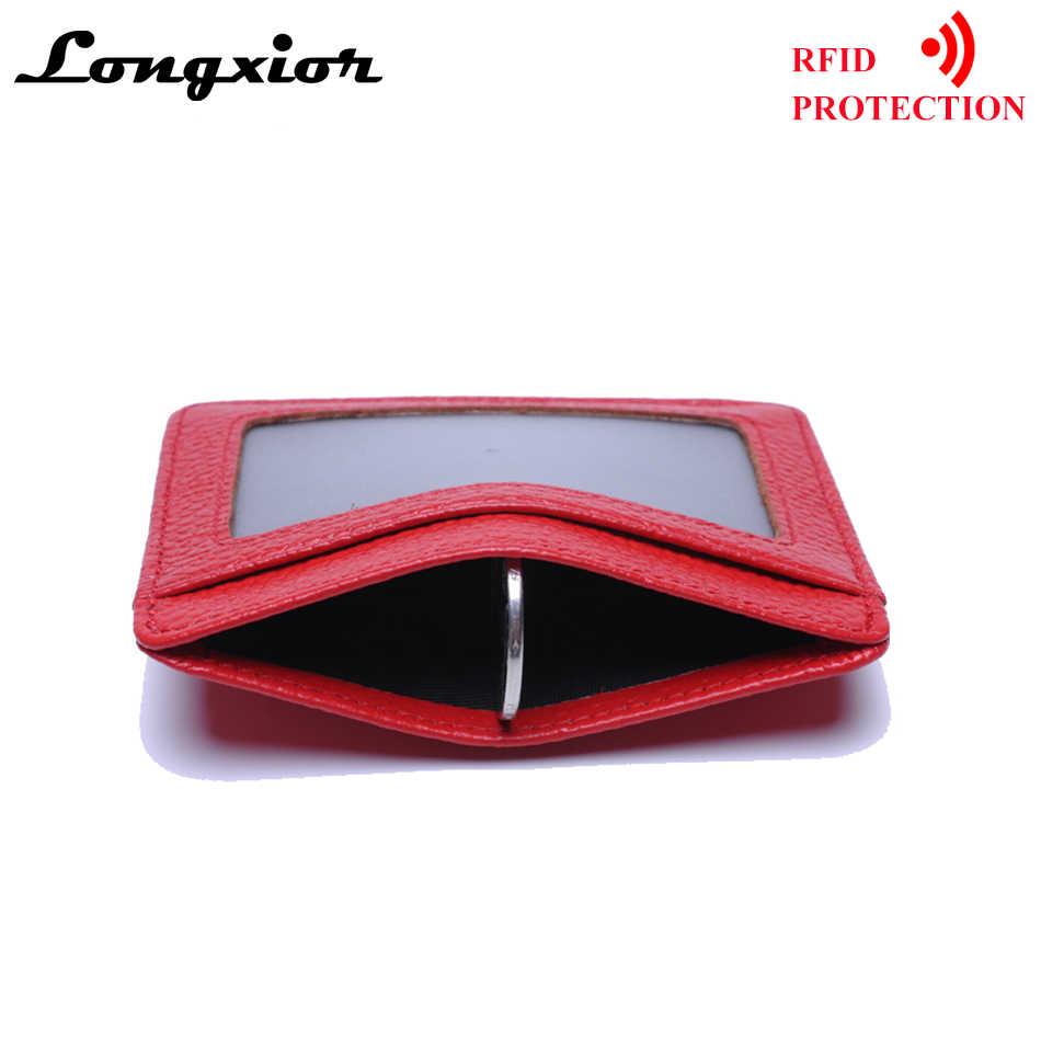 MRF12 RFID Blocking Schlank Leder Brieftasche Kuh Leder Front Tasche Kreditkarte Fall Karte Halter Mit ID Fenster Identität Schutz