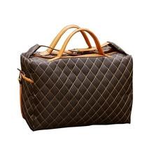 Vintage Travel Bag Polyester Lattice Duffle Hand Luggage