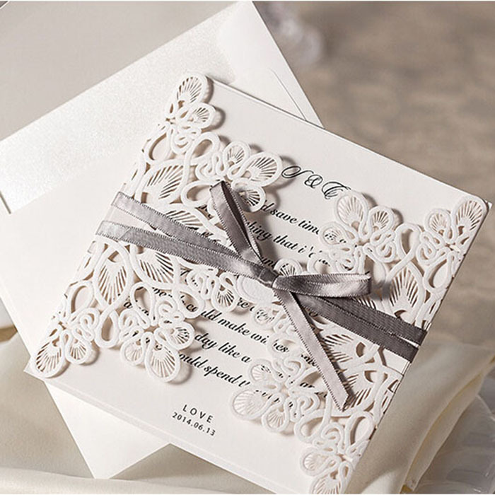 Elegant Flora Design White Wedding Invitations Lace Templates ...