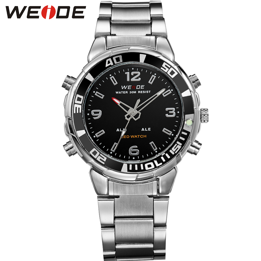 ФОТО WEIDE Top Luxury Men's Sports Watches LED Digital Quartz Dual Movement Multi-Functional 3ATM Water Resistant Brand New Watch