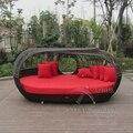 Lujo diván de mimbre al aire libre con el pabellón al aire libre sol muebles lougner para patio al puerto marítimo por mar