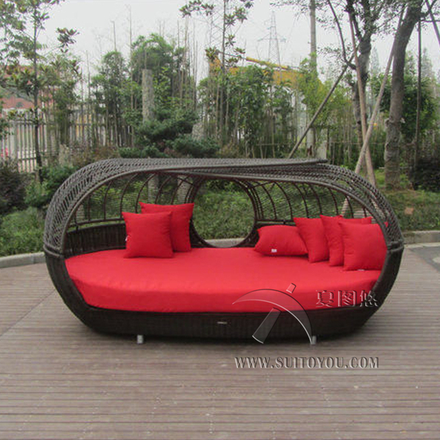Luxury Outdoor rattan daybed with canopy Outdoor furniture sun lougner for patio transport by sea