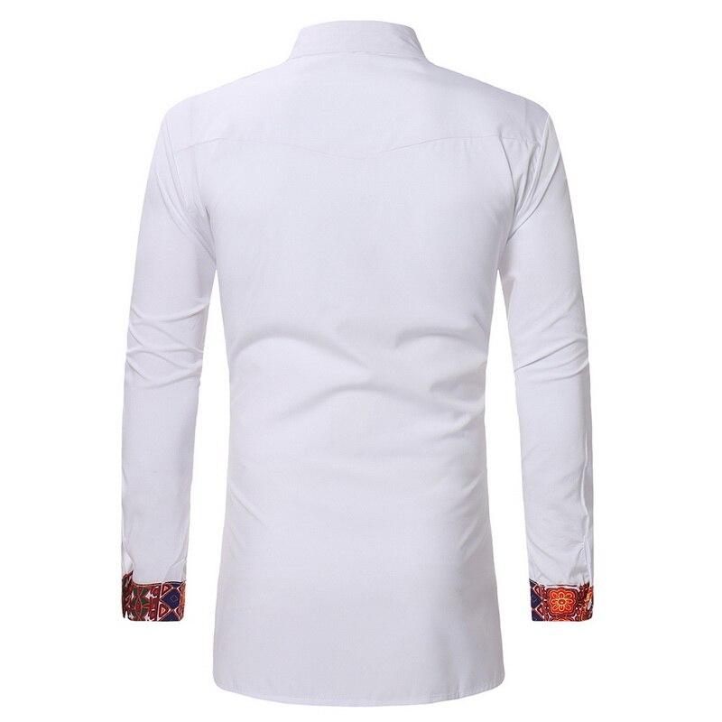 NIBESSER 2018 Men African Gypsy Ethnic Shirts Full Sleeve turn down Collar Traditional men Clothing Print Dashiki shirt Men new