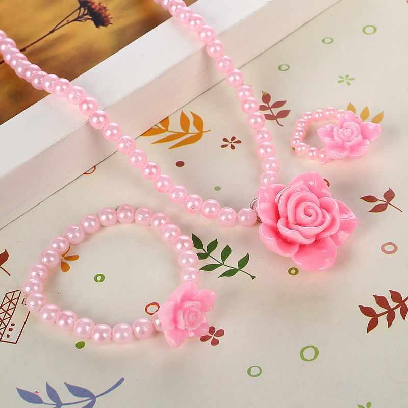 น่ารักสีชมพูจำลองไข่มุกลูกปัดเด็กชุดเครื่องประดับเรซิ่น Rose ดอกไม้ดวงอาทิตย์ดอกไม้จี้สร้อยคอสร้อยข้อมือแหวนสำหรับเด็กของขวัญ
