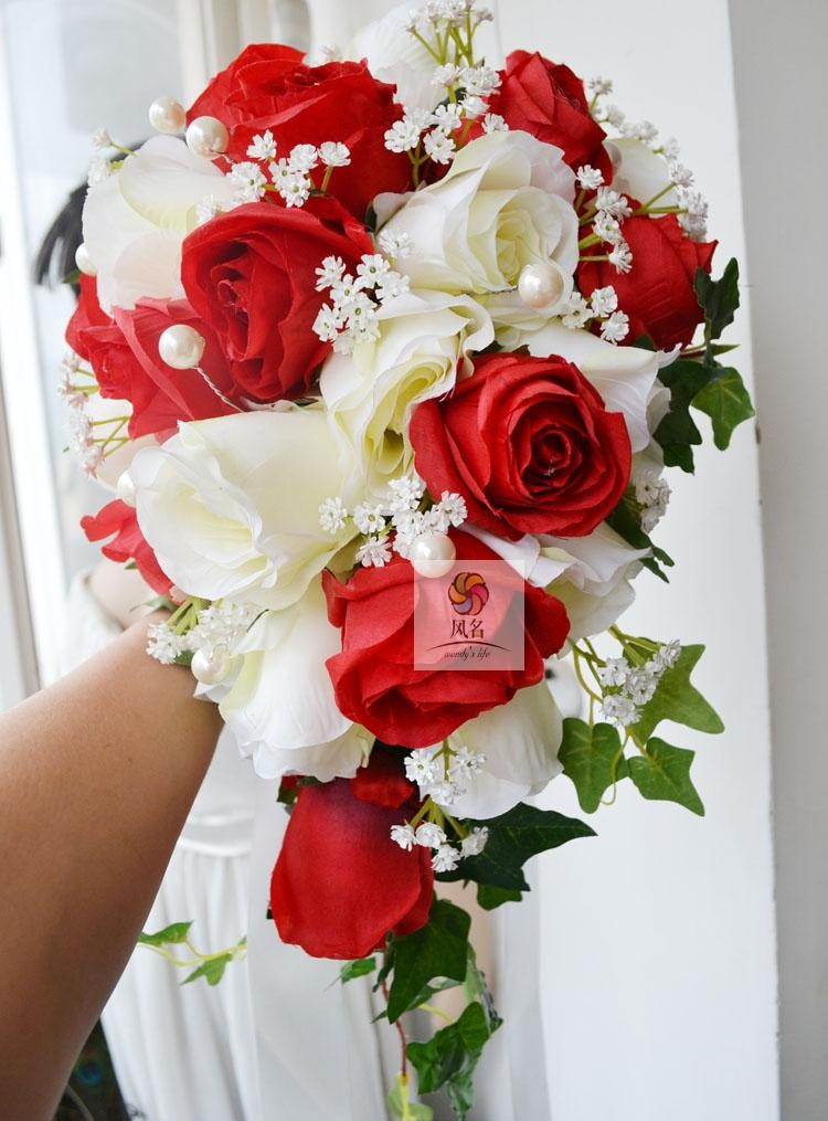 Blue white Waterfall Elegant Wedding Bouquets Artificial Bridal Brooch Bouquet Wedding Bouquet For Brides Bruidsboeket 2017 7