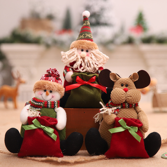 Christmas Children Presents Toy Xmas Festival Decorations Lovely Santa Claus Reindeer Snowman Doll with Candy Bag SD55