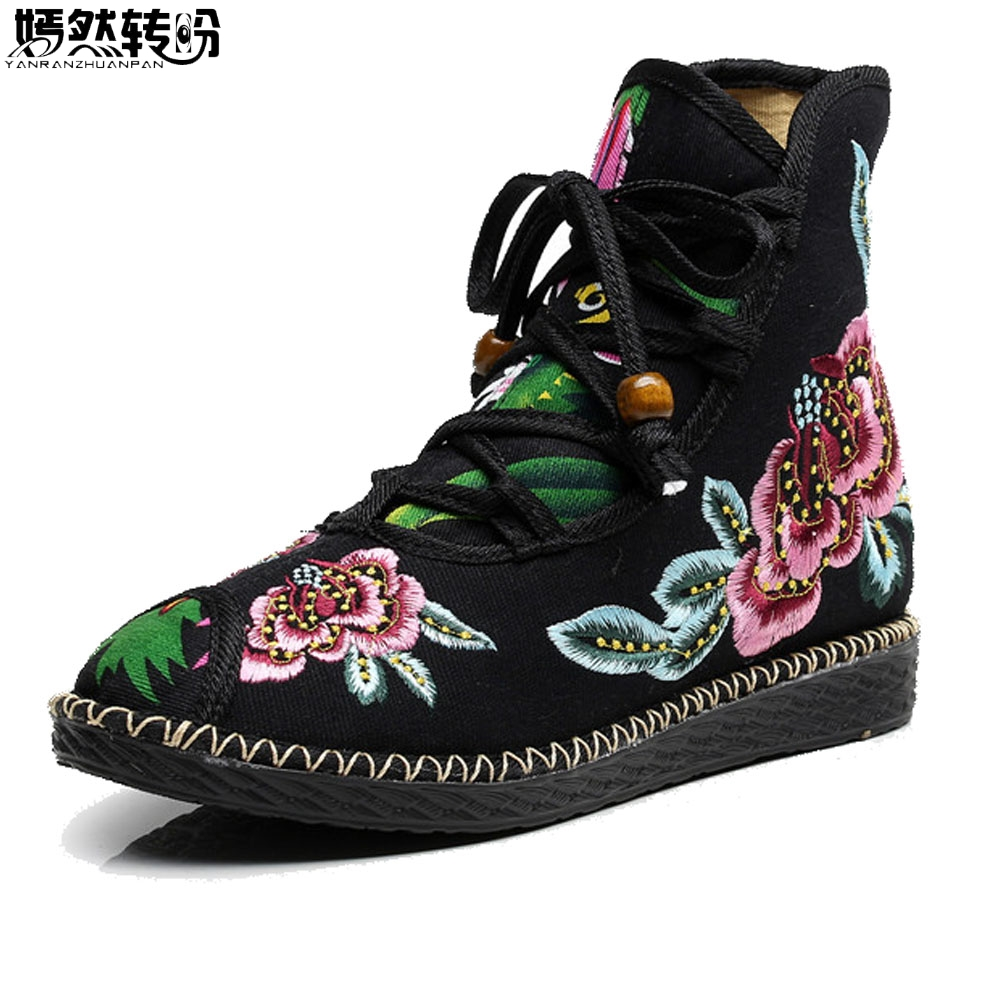 2017 Autumn Winter New Chinese Women Boots Flower Embroidered Shoes Ethnic Lace Up Shoes Woman Snow Booties Botas Mujer ethnic embroidered black cami dress for women
