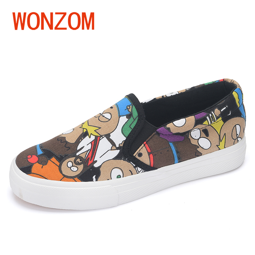 WONZOM Fashion Women's Cartoon Printed Flats Platform Casual Shoes Female Slip On Canvas Durable Loafers 2018 Spring New Shoes free shipping new arrival 2017 women trendy candy colored slip on canvas shoes platform canvas casual loafers size 35 40
