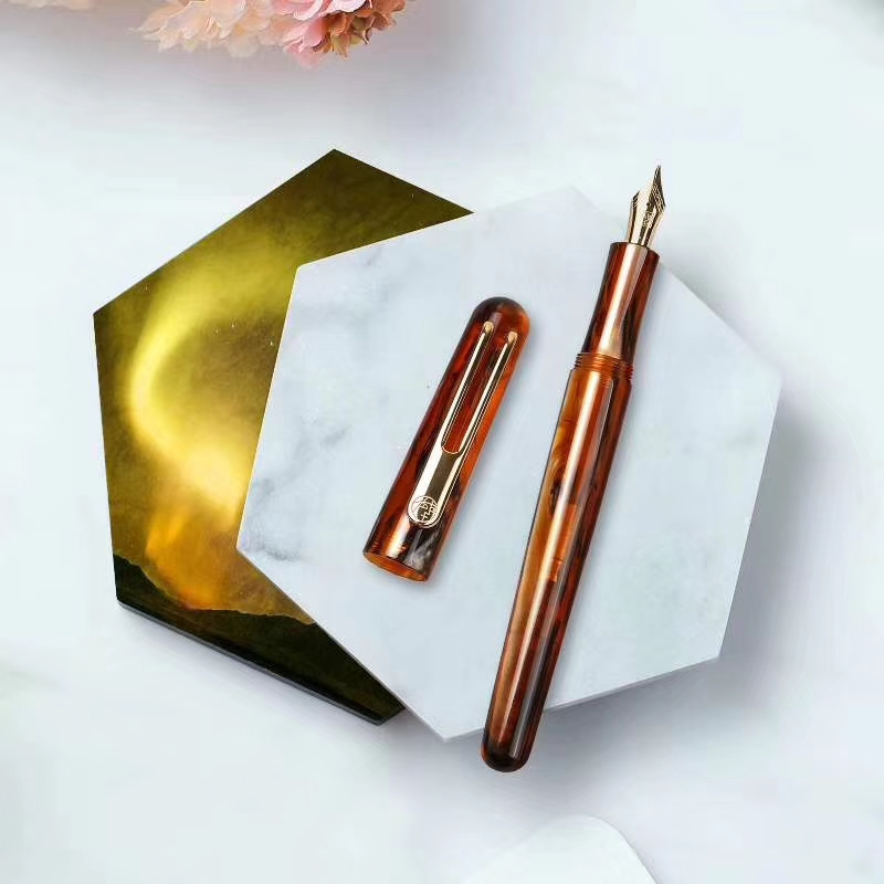New Picasso Celluloid Fountain Pen Pimio EtSandy Aurora Brown PS 975 Iridium Fine Ink Pen Writing