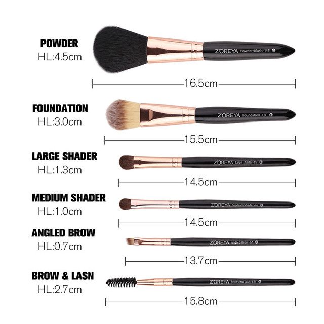 Zoreya Brand 8pcs High Quality Synthetic Fibers Makeup Brush Set Powder Foundation Large Eye Shadow Angled Brow Brushes 3 Colors 2