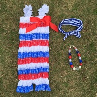 4th of july lace baby clothes romper summer style fourth of July infant rompers Star Flag Print BABY July 4th Patriotic rompers