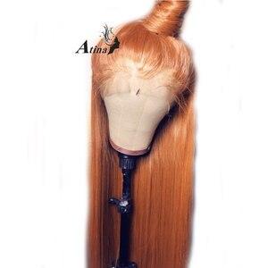 Image 3 - Ingwer Perücke 13x6 Tiefe Lange Gerade Spitze Vorne Orange Menschliches Haar Perücken Mit Baby Haar Vor Gezupft HD transparent Spitze Teil Frontal