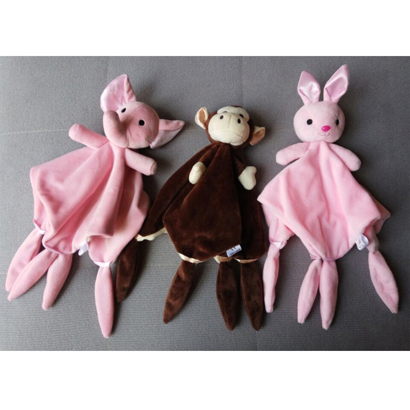 Baby Toys 0-12 Months Appease Towel Comfort Plush Animal Rabbit Dog Sheep Elephant Educative Baby Rattles Mobiles Stroller Toys