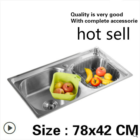 Free Shipping Household Standard Kitchen Double Groove Sink Do The Dishes Food Grade304 Stainless Steel Hot Sell 78x42 CM