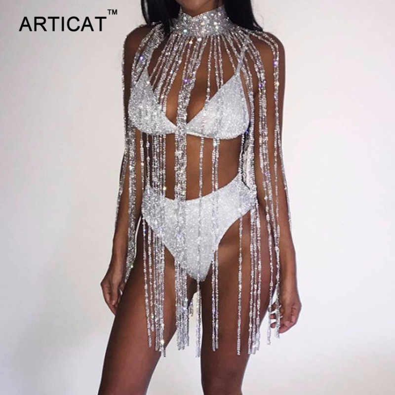 Articat Sexy Sparkle Tassel Crystal Diamonds Outfits Sexy Hollow