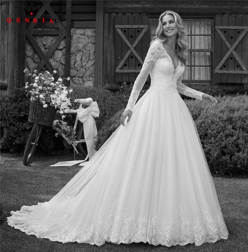 Custom Made Ball Gown Long Sleeve Tulle Lace Appliques Pearls Formal Elegant Wedding Dresses Vestido De Noiva 2020 New WH68
