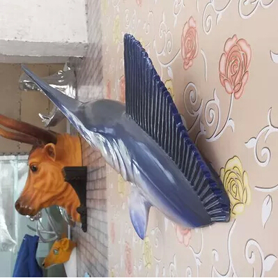 Home ocean club KTV style bar wall adornment animal ornaments hanging sword fish shark head wall act the role ofing
