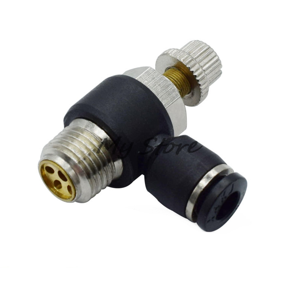 High quality Throttle valve L Type quickly inserted pneumatic joint fittings SL4 6 8 10 12MM-(M5 1/8 1/4 3/8 1/2) black new original as1000 m5 metal throttle valve